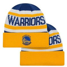Golden State Warriors New Era Primary Logo Biggest Fan Cuffed Knit - Gold