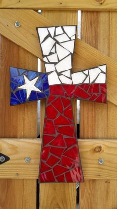 Mosaic Cross, USA Flag Mosaic Stained Glass Cross, Mosaic Wall Hanging, Decorative Cross