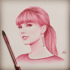 drawing of taylor swift red