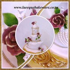 Rose ruffles and birdcage vintage cake