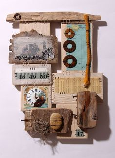stitching through wood - Ali Ferguson 3d Collage, Mixed Media Collage, Mixed Media Photography, Creative Photography, Art Textile, Textile Artists, Textiles, Found Art, A Level Art