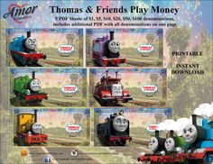 Thomas & Friends Play Money by AmorPrintables on Etsy Printable Play Money, Monopoly Money, Thomas The Tank, Thomas And Friends, Party Favor Bags, Pretend Play, Paw Patrol, Children, Kids