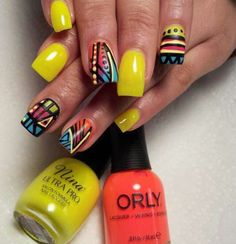 Acrylic Nails- Detailed nail art. Summer colors