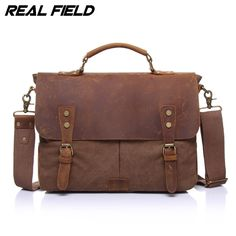 41.99$  Watch here - http://alice6.shopchina.info/go.php?t=32771194945 - Real Field Men Business Shoulder Bags Canvas Satchel Briefcase Vintage Computer Document Crossbody Casual Tote Handbags 125 41.99$ #aliexpresschina