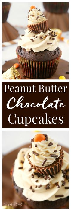 Peanut Butter Surprise Cupcakes - Moist dark chocolate cupcakes filled with a…