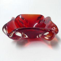 Murano vintage bright red glass ashtray/bowl/dish. Retro 50s/60s cased lobed big