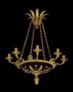 Marvin Alexander,Inc. EMPIRE Style gilt bronze and painted tole eight light chandelier