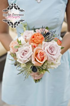 Bridesmaid Bouquet, #peach, #coral, #rananculas, #andiefreemanphotography