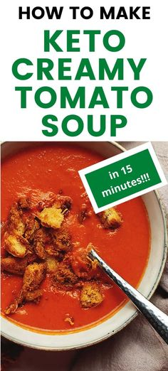 Keto Tomato Soup - Only 5 ingredients is all you wil need for this tasty low carb tomato soup recipe! Super creamy and super easy soup recipe. Easy Tomato Soup Recipe, Easy Soup Recipes, Low Carb Recipes, Diet Recipes, Cooking Recipes, Healthy Recipes, Lunch Recipes, Healthy Eats, Dessert Recipes
