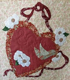 Vintage Valentine block made by Janet Beyea Heart Quilt Pattern, Applique Quilt Patterns, Applique Templates, Pattern Blocks, Applique Designs, Homemade Quilts, Shabby Fabrics, Patch Aplique, Vintage Valentines