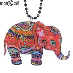 Newei elefante collar colgante de accesorios de acrílico 2015 noticias de primavera verano animal lindo muchachas del diseño de la joyería de moda mujer