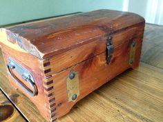 Vintage 1940s McGraw Box Co., New York wood treasure box art supply brush tool storage firestarter deco cedar brass office file raffle prop by Piklandia on Etsy