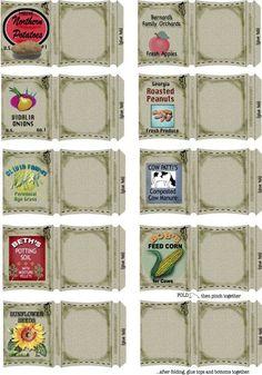 Printable Mini - Garden Sacks (dollhouse garden)
