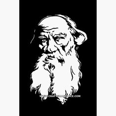 Vectorized engraving of Leo Tolstoy