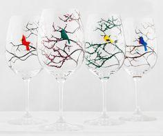Seasonal Birds Wine Glasses Hand Painted by MaryElizabethArts.com $120.00/Four