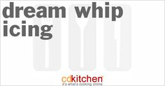 A recipe for Dream Whip Icing made with Dream Whip topping mix, milk, vanilla extract, vanilla pudding Whipped Icing Recipes, Fudge Icing Recipe, Fudge Frosting, Cream Cheese Recipes, Cream Cheese Icing, 5 Star Recipe, Unsweetened Chocolate, What To Cook, Corn Syrup