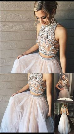 Two Piece Prom Dresses,A line Tulle Prom Dress with Beads,Fashion High Neck Prom Dress,prom dress,47