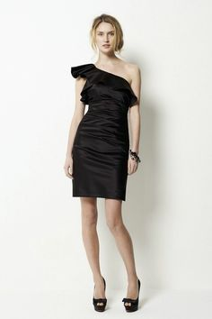 one-shoulder-black-short-bridesmaid-dress