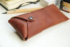 Leather case for pens or glasses Chocolate brown by rensz on Etsy