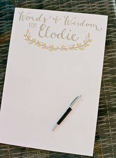 For loved ones to fill out at the Baptism - advice and notes for baby to read when he or she gets older. So special for aging relatives who might not otherwise get to share their wisdom with baby.