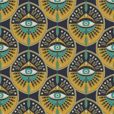 Tribal Evil Eye Pattern Comforters by Tamara Lance - Queen: x Eyes Wallpaper, Pink Wallpaper Iphone, Wallpaper Wallpapers, Iphone Wallpapers, Eye Pattern, Pattern Art, Art And Illustration, Pattern Illustration, Textures Patterns