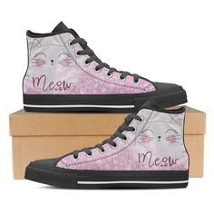 Meow Cat- Women's High Top Canvas Sneakers in (Black)