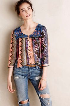 NWT Anthropologie Patchprint Embroidered Henley by Vanessa Virginia - Sz 0P, 10  #VanessaVirginia #Blouse #Casual