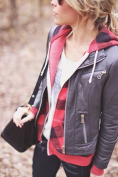 Buffalo Plaid Hoodie + Leather Jacket