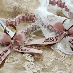 Pink and brown personalised garter set made for Margaret Wedding Garters, Garter Set, Pink Brown, Mink, Heavenly, Custom Design, Palette, Colour, Bride