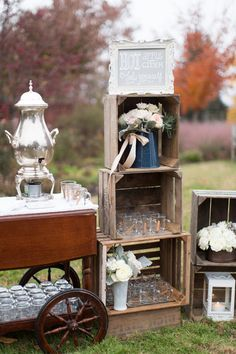 Hot apple cider bar - perfect for a fall wedding! {Abby Grace Photography}