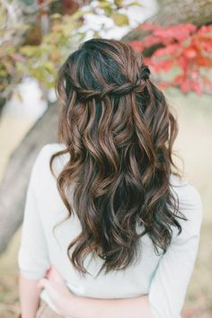 Romantic, natural half up half down