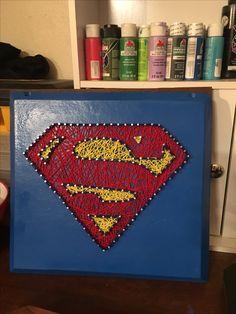 Made by ME - nail and string art super man logo