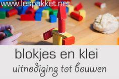 Uitnodigen tot bouwen: blokjes en klei - jufBianca.nl - zelfgemaakte klei - klei als verbinding