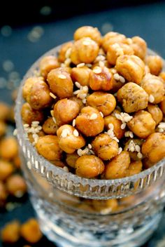 Sesame Garlic Roasted Chickpeas seasoned with toasted sesame seeds, garlic and soy sauce.  A healthy recipe for when you're craving a salty crunchy snack!
