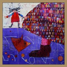 Elke Trittel acrylics collage on board 50x50cm