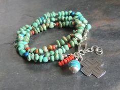 Wrap Bracelet, Turquoise 3x Wrap Bracelet, Artisan Jewelry, Sundance Style, Rustic, Southwest Santa Fe Style, Handmade Jewelry