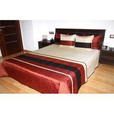 Kvalitný prehoz na posteľ tehlovo krémovej farby s prešívaním