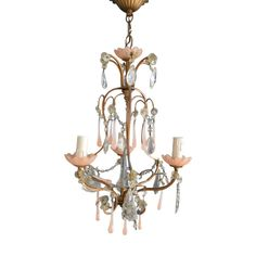 French vintage Chandelier with pink droplets