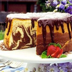 Amish Chiffon Marble Cake with Chocolate Glaze