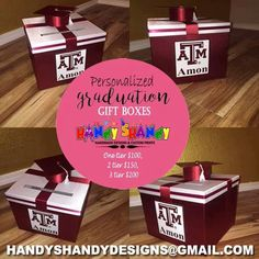 Personalized Graduation Gift Boxes!! For your Orders and Reservation Email handyshandydesigns@gmail.com ‪#‎handmade‬ ‪#‎designs‬ ‪#‎graduation‬ ‪#‎gift‬ Boxes