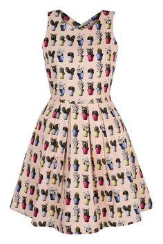 Cactus Print Skater Dress Pink | Yumi