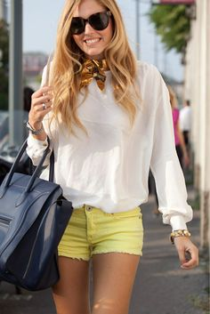 Longer shorts or a yellow knee length flowy skirt would be amazing. Good to go