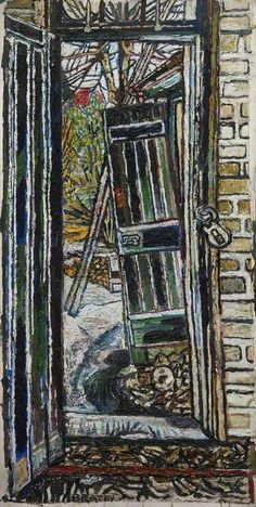 John Randall Bratby - Coach House Door, Oil on board, x 61 cm, Arts Council Collection. Window View, Window Art, John Bratby, William Hogarth, Still Life Artists, Coach House, Painting Collage, English Artists, House Doors