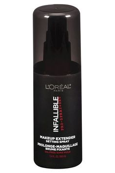 """L'Oreal Infallible Makeup Extender Setting Spray, $16.99, available at Ulta.  #refinery29 http://www.refinery29.com/2015/12/99854/celebrity-makeup-artist-b"