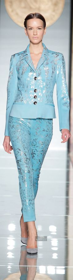 Roccobarocco. Fall Winter 2014-15 collection. Powder blue and silver outfit. Blue pants and jacket. Runway style. Classy outfit. Resort style. Woman's wear.