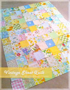 12 rows long, so each pattern is repeated 3 times. With 1/4″ seams, the finished quilt will be 60″ x 72″… a great size for getting cozy on the couch.vintage-sheet-quilt-3