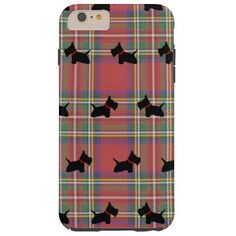 Scottie No 8 Red Tartan iPhone 6 Plus case.  Scottish Terrier with a red collar pattern.  This design was inspired by my Scottie, Lincoln at eight months.