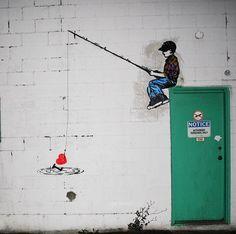 kids fishing street art graffiti urban art in vancouver Banksy Graffiti, Street Art Graffiti, Bansky, Urban Street Art, Urban Art, Tableau Pop Art, Arte Popular, Heart Art, Street Artists