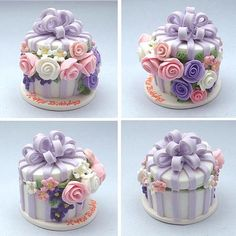 Flower Box Cake - dollhouse miniature by Blue Kitty Miniatures