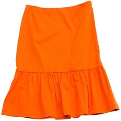 Pre-owned Prada Mid-Length Skirt ($128) ❤ liked on Polyvore featuring skirts, orange, women clothing skirts, orange skirt, ruffle hem skirt, prada, zip skirt and mid length skirts